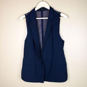 EUC Zara Basic Dark Navy with Sheer Back Vest, M